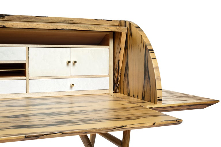 Contemporary 21st Century Charles 10 Desk, White Ebony, White Maple and Brass, Made in Italy For Sale