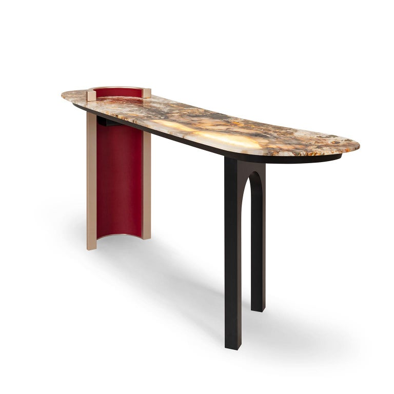 Hand-Crafted Chiado Console Backlit Patagonia Granite Red Leather Champagne Black Lacquered For Sale