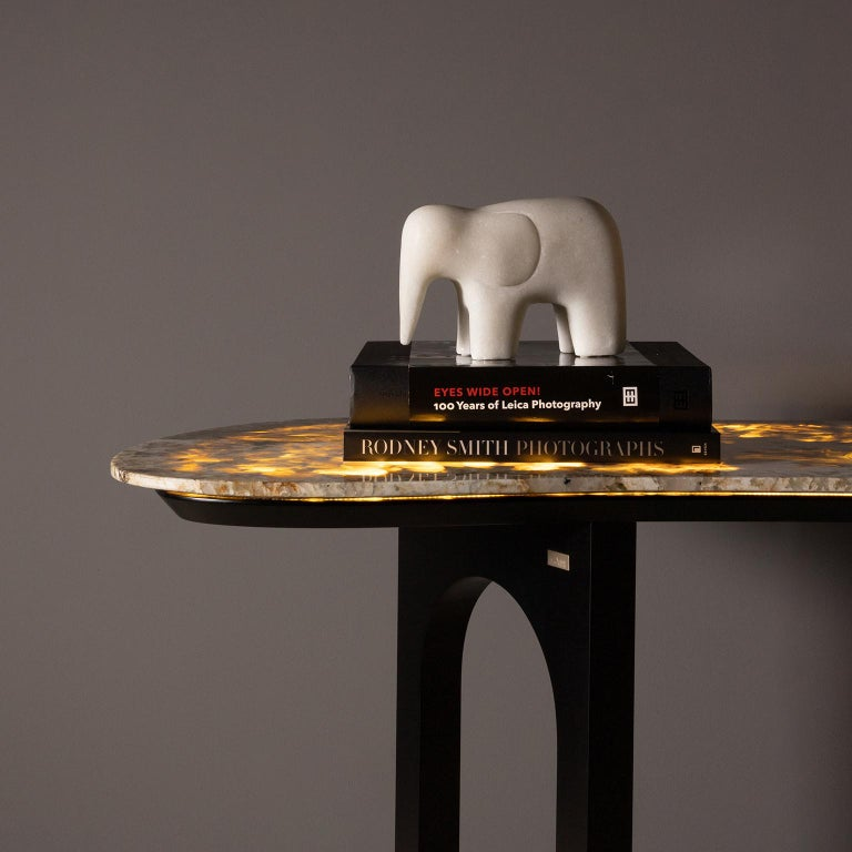 Chiado Console Backlit Patagonia Granite Red Leather Champagne Black Lacquered In New Condition For Sale In Cartaxo, PT