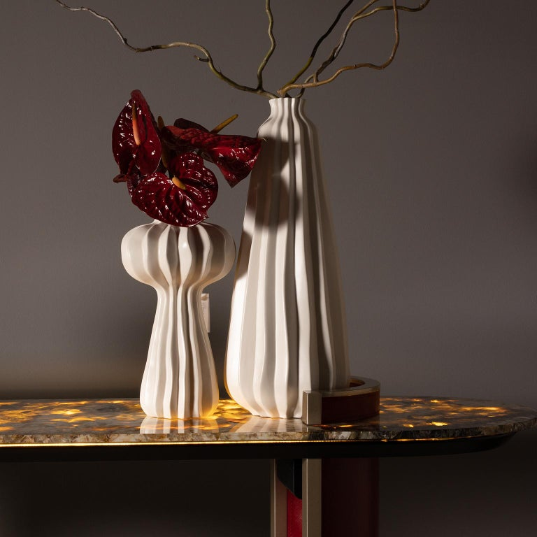 Contemporary Chiado Console Backlit Patagonia Granite Red Leather Champagne Black Lacquered For Sale