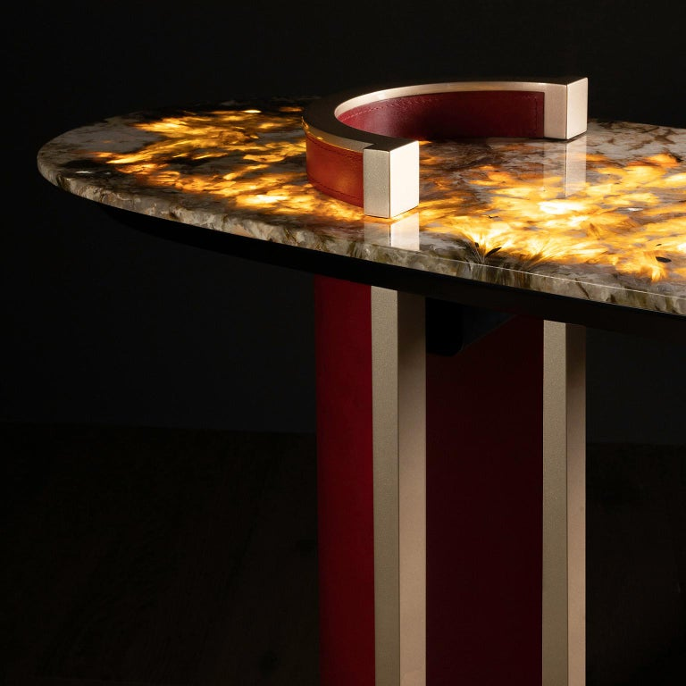 Chiado Console Backlit Patagonia Granite Red Leather Champagne Black Lacquered For Sale 1