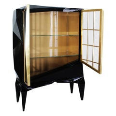 21st Century Chopin Cabinet  Black Lacquered Wood Metallic Gold