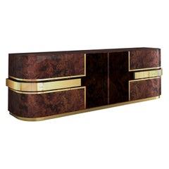 21st Century Chrysler Sideboard Walnut Wood Polished Brass