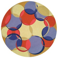 21st Century Circular Coleman 21 Red, Blue and Beige Handmade Wool Rug