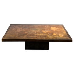 21st Century Coffee Table Bronze Marbled Top, Plinth Base in Steel