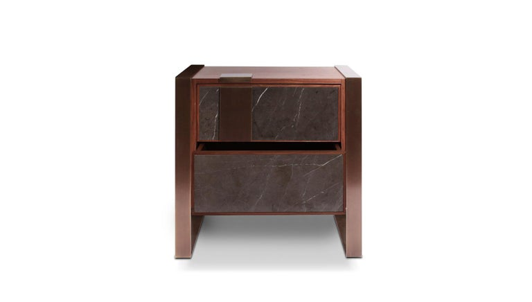 The polished brass detail embracing the main structure of the Coloma contemporary sideboard reflects our inspiration in the gold rush and consequently Coloma, where the whole story started. The structure of this stunning piece features three