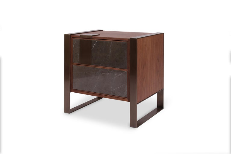 Portuguese 21st Century Coloma Nightstand Marble and American Walnut Wood For Sale
