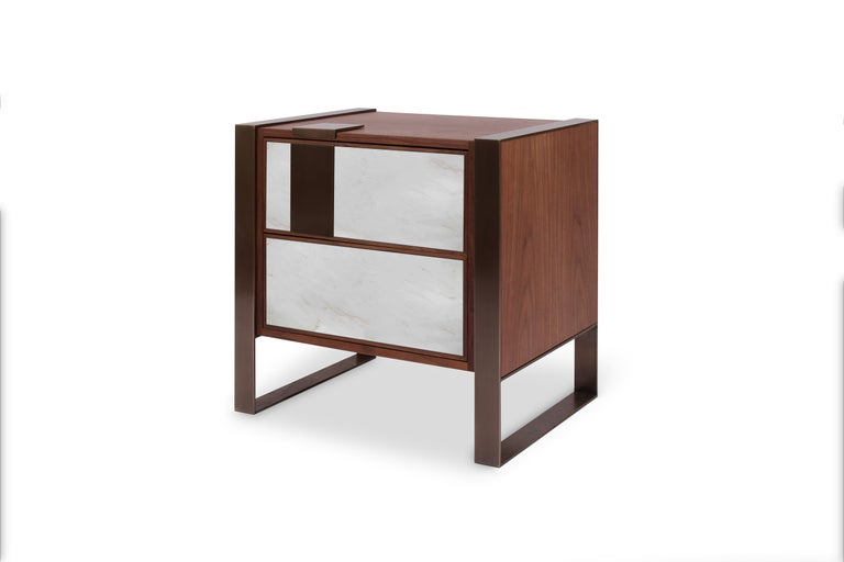Polished 21st Century Coloma Nightstand Marble and American Walnut Wood For Sale
