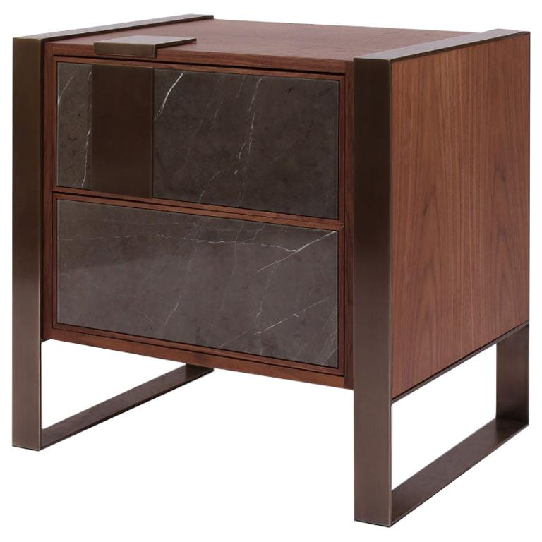 21st Century Coloma Nightstand Marble and American Walnut Wood For Sale