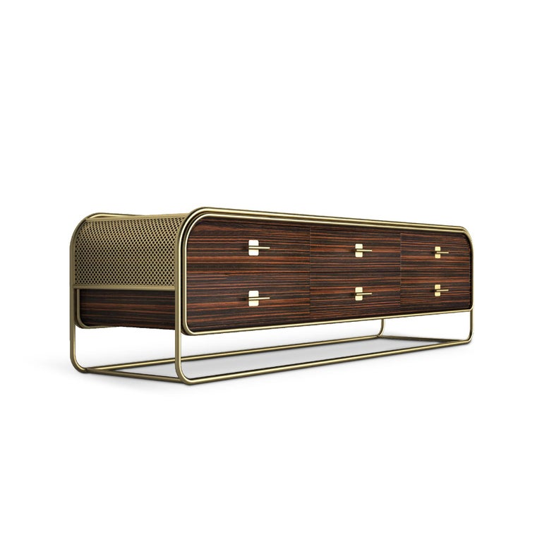 """Known as """"one of the great grand dames of Art Deco Streamline Moderne in Los Angeles"""", the Eastern Columbia Building inspired Porus Studio Design team to create the Columbia Family.  This modern sideboard features a stunning brushed brass frame and"""