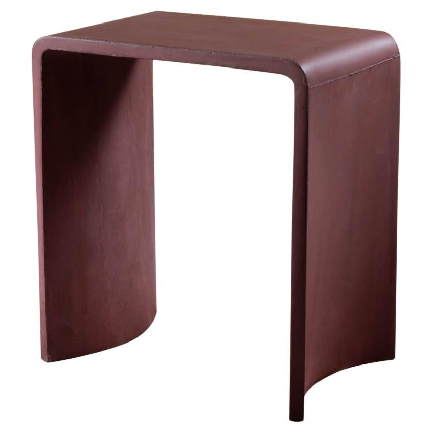 21st Century Concrete Contemporary Stool & Side Table, Red Brick Cement Color