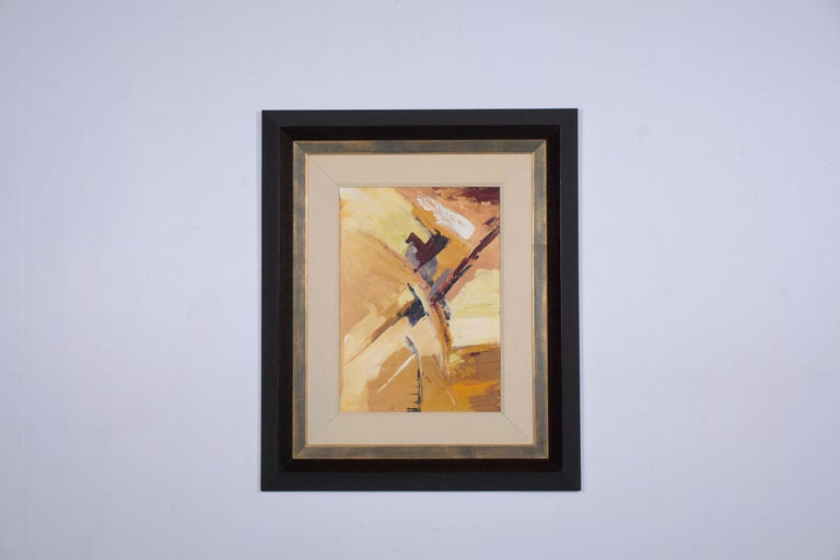An extraordinary 21st-century abstract acrylic multicolor painting on board with a unique design. The piece is framed in an elegant dark brown wood and gilt molding detail and is ready to be displayed in your home for years to come. Painting