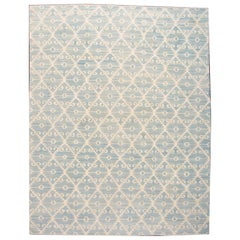 21st Century Contemporary Blue and Ivory Kilim Rug