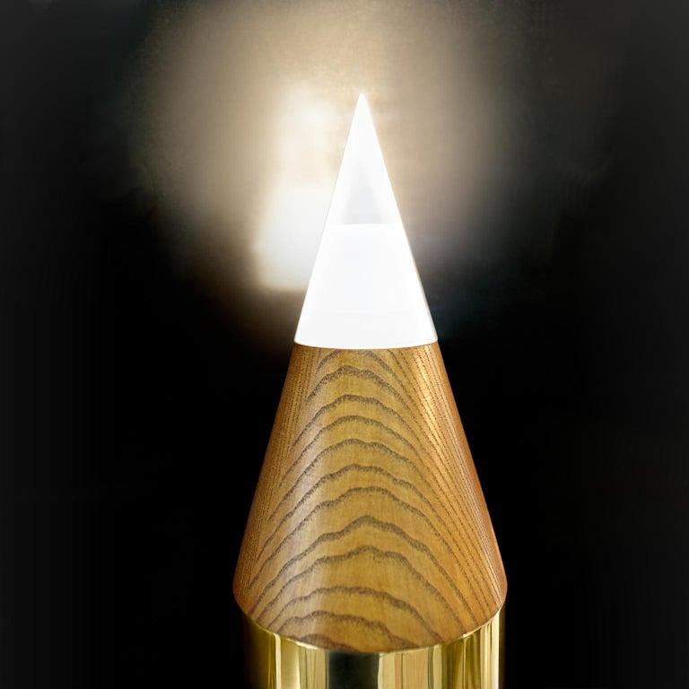 Italian 21st Century Contemporary Giampiero Romano Pencil Style Floor Lamp Brass For Sale