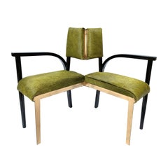 21st Century Contemporary Green Hairy Leather Corner Chair by Giampiero Romanò