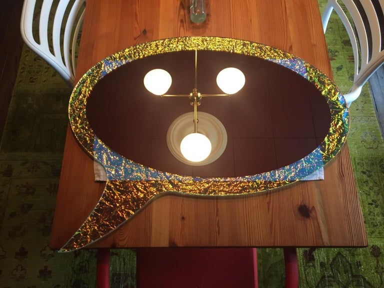 21st century contemporary handmade crazy mirror by Troy Smith, artist proof.  Crazy Glass is made by taking two pieces Starphire glass that are CNC cut to shape, then added is a dichroic interlayer cut by hand and placed in-between the two pieces