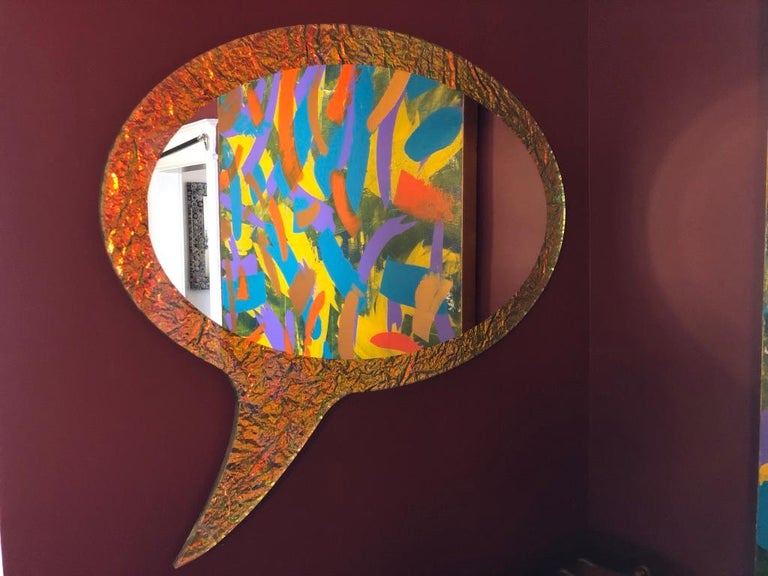 Carved 21st Century Contemporary Handmade Crazy Mirror by Troy Smith, Artist Proof For Sale