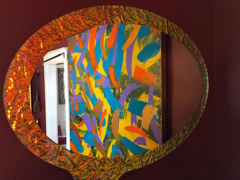 Art Glass 21st Century Contemporary Handmade Crazy Mirror by Troy Smith, Artist Proof For Sale