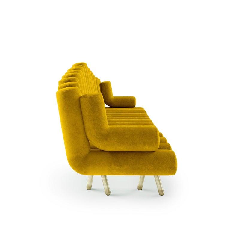 Modern Yellow Velvet Sofa With Brass Leg For Sale