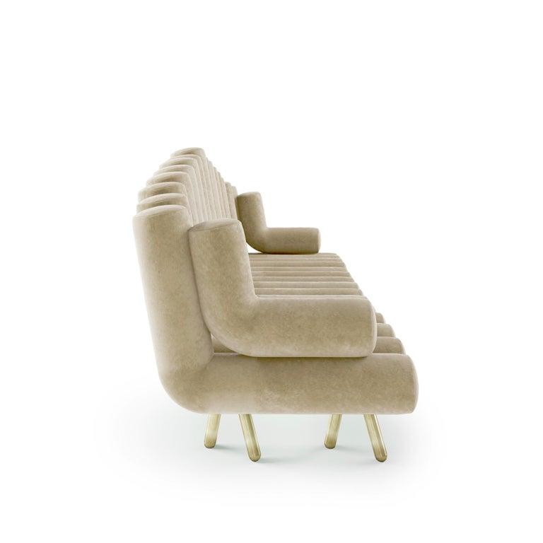 Modern Cream Velvet Sofa With Brass Legs For Sale
