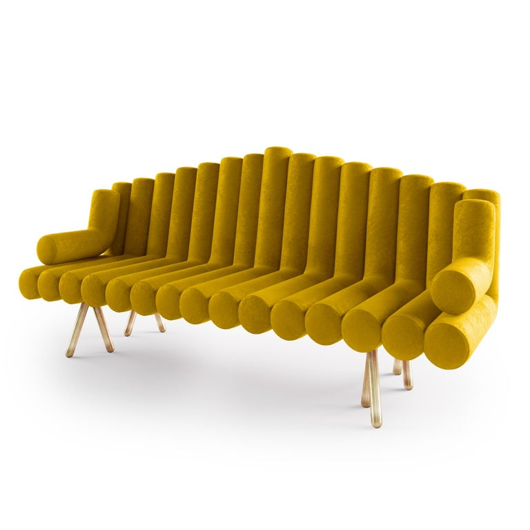Polished Yellow Velvet Sofa With Brass Leg For Sale