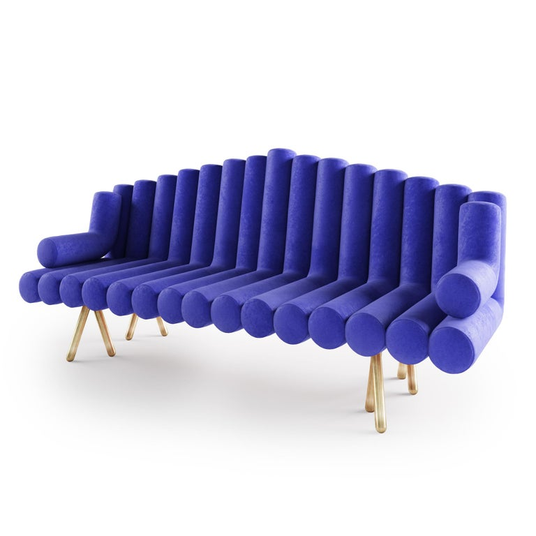Polished Blue Velvet Sofa With Brass Legs For Sale