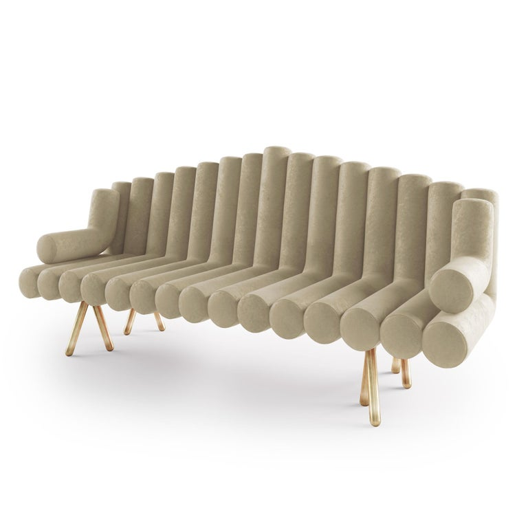 Polished Cream Velvet Sofa With Brass Legs For Sale