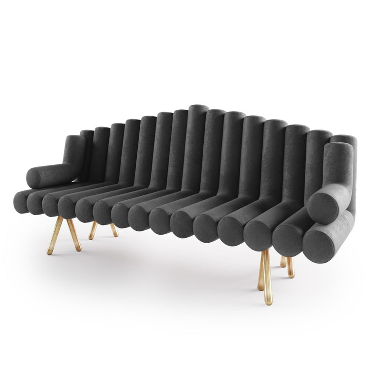 Polished Charcoal Velvet Sofa With Brass Legs For Sale