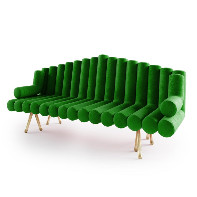 Polished Green Velvet Sofa With Brass Legs For Sale
