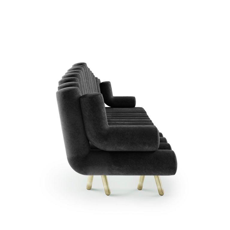 Modern Charcoal Velvet Sofa With Brass Legs For Sale