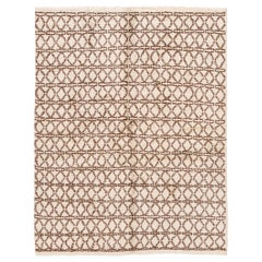 21st Century Contemporary Ivory Moroccan Tribal Wool Rug