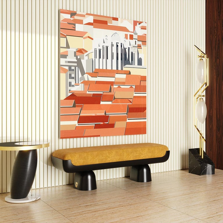 21st Century Contemporary Leopard Animal Print Velvet Bench Black Lacquered Base For Sale 2