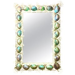 21st Century Contemporary Monumental Abalone Shell and Spider Coral Mirror