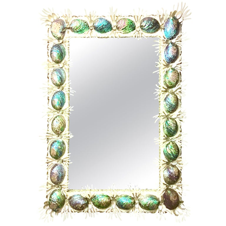 21st Century Contemporary Monumental Abalone Shell and Spider Coral Mirror For Sale