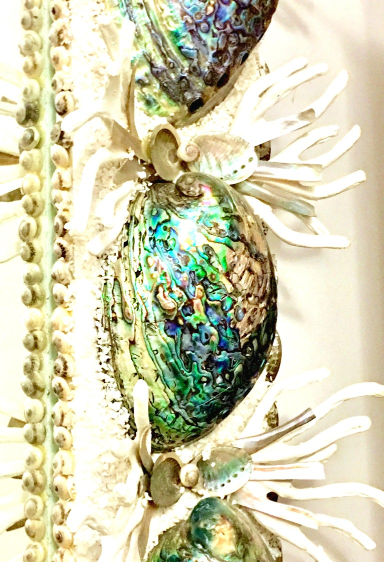 21st Century Contemporary Monumental Abalone Shell and Spider Coral Mirror For Sale 6