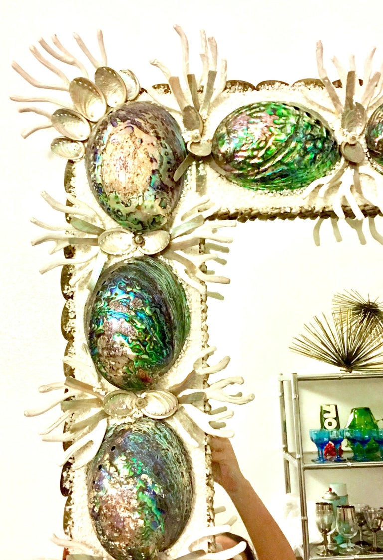 Asian 21st Century Contemporary Monumental Abalone Shell and Spider Coral Mirror For Sale