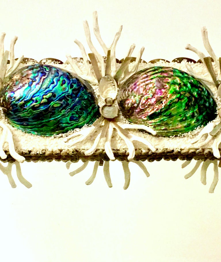 21st Century Contemporary Monumental Abalone Shell and Spider Coral Mirror In Excellent Condition For Sale In West Palm Beach, FL