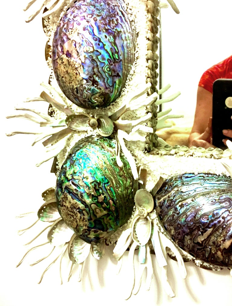 21st Century Contemporary Monumental Abalone Shell and Spider Coral Mirror For Sale 1