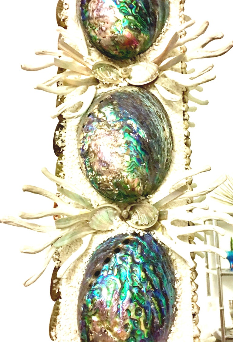 21st Century Contemporary Monumental Abalone Shell and Spider Coral Mirror For Sale 2