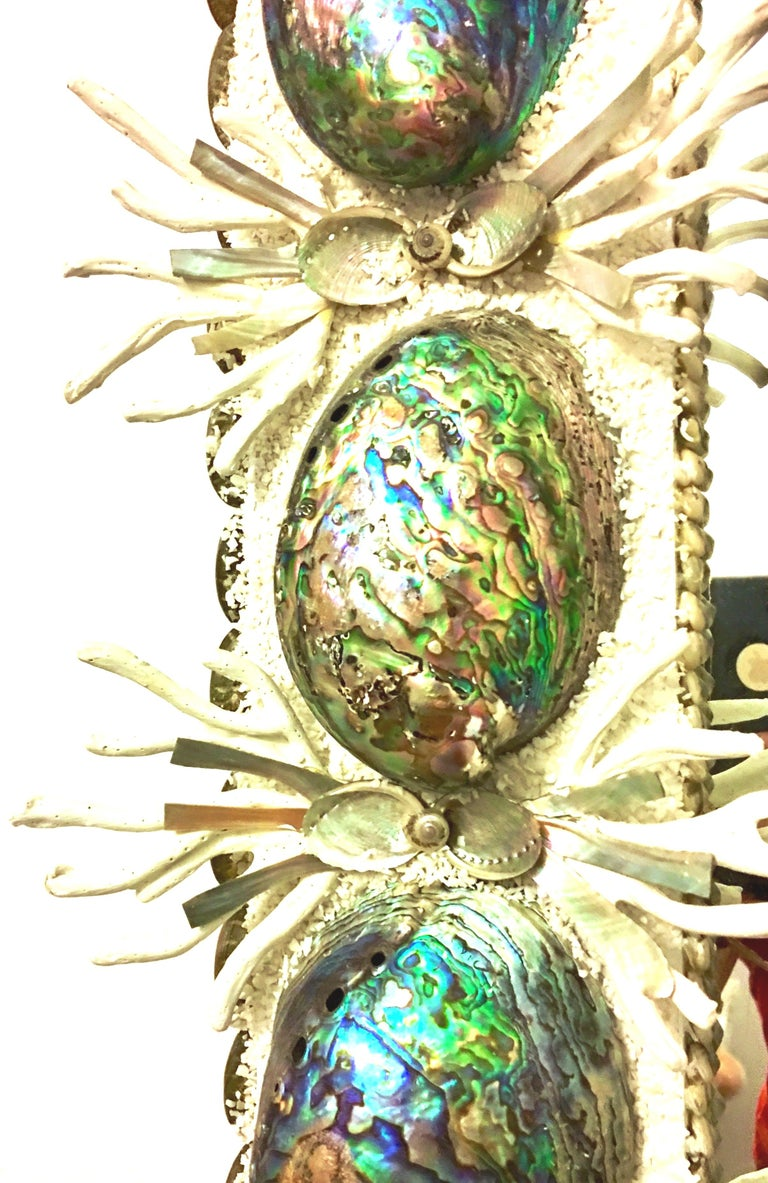 21st Century Contemporary Monumental Abalone Shell and Spider Coral Mirror For Sale 5