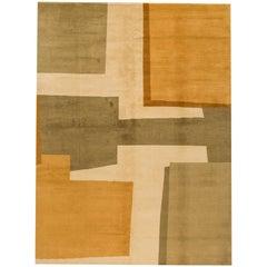 Modern Geometric Minimalist Nepalese Wool Rug