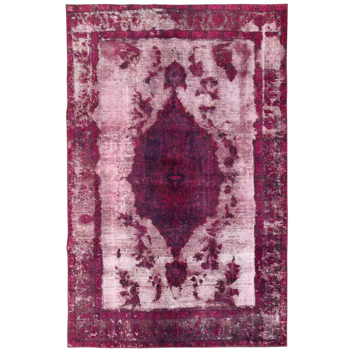 21st Century Contemporary Overdyed and Distressed Persian Accent Rug in Fuchsia