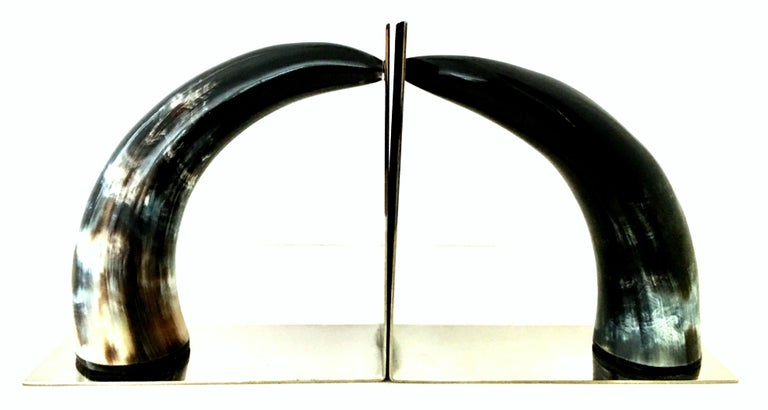 21st Century Contemporary Pair of Chrome Mounted Horn Bookend Sculptures In Excellent Condition For Sale In West Palm Beach, FL