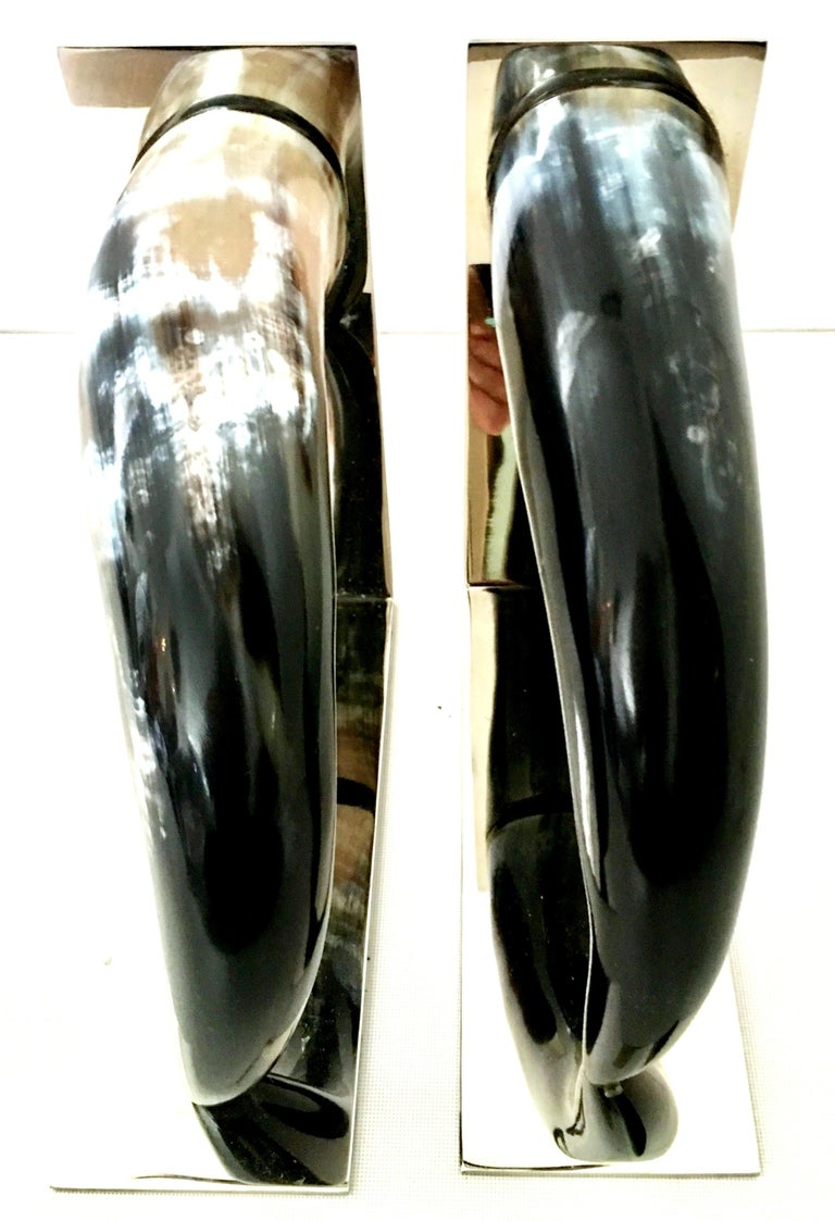21st Century Contemporary Pair of Chrome Mounted Horn Bookend Sculptures For Sale 2