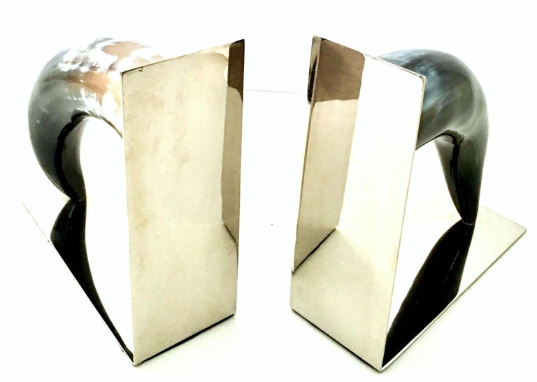 21st Century Contemporary Pair of Chrome Mounted Horn Bookend Sculptures For Sale 3
