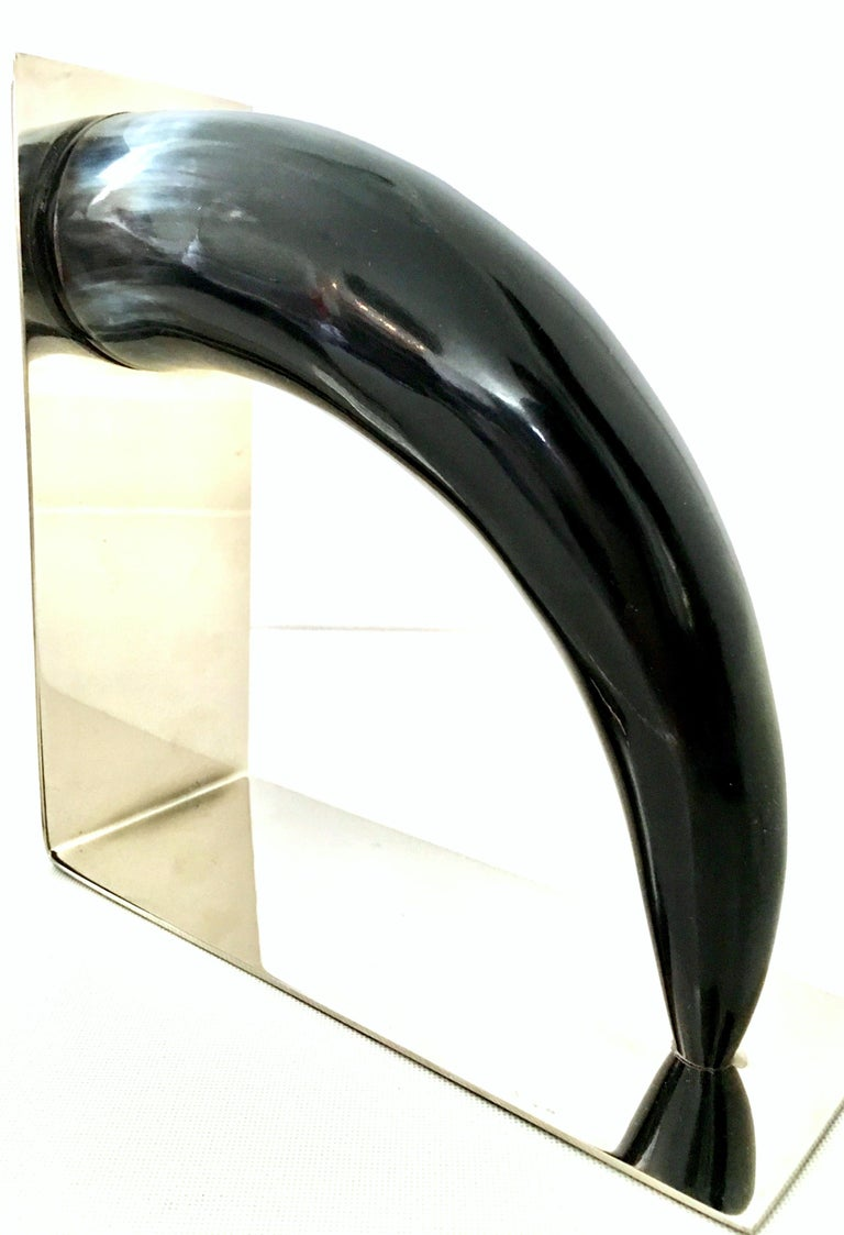 21st Century Contemporary Pair of Chrome Mounted Horn Bookend Sculptures For Sale 5