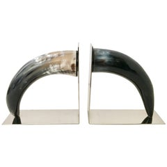 21st Century Contemporary Pair of Chrome Mounted Horn Bookend Sculptures