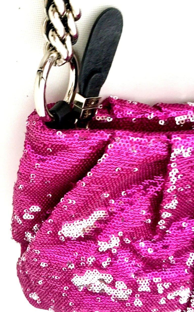 21st Century Contemporary Sequin, Leather & Chrome Hand Bag By, OrYanny For Sale 8