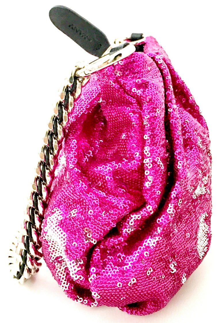 21st Century Contemporary Sequin, Leather & Chrome Hand Bag By, OrYanny For Sale 1