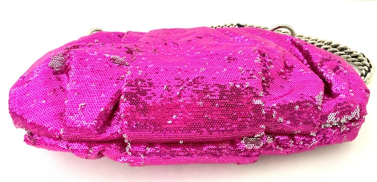 21st Century Contemporary Sequin, Leather & Chrome Hand Bag By, OrYanny For Sale 2